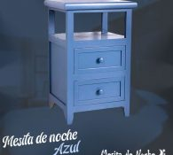 mesita de noche azul